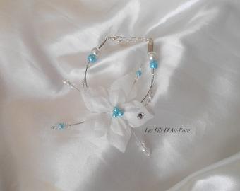 ORLANE with silk flower wedding bracelet