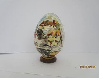 painted goose egg: view of Honfleur painted on a real goose egg