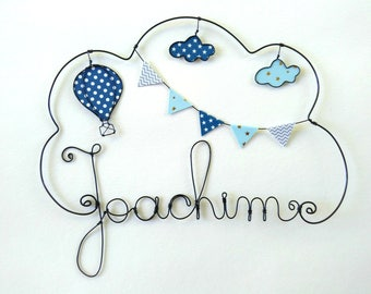 """Name of customizable """"around the world balloon"""" wire decoration for child's room wall cloud"""