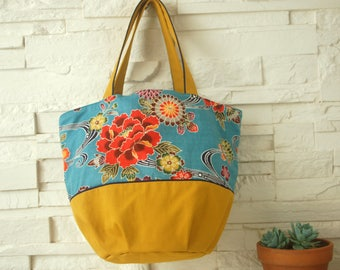 Cabas bag with mustard yellow-blue Japanese fabric