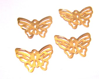 50 pendant charm connector - Butterfly-11 x 15 mm - metal filigree gold F8