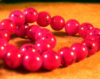 20 fuchsia marbled speckled TR5 8 mm black glass beads