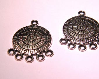 2 pendant connector - pattern inca-27 mm-silver - PF157 print