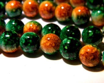 shiny 20 beads in marbled glass 2 tones - 10 mm Green and orange bright-PG127-4