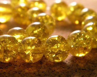 glass Crackle 8 mm - very bright yellow - PE139 50 beads