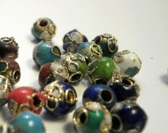 10 small cloisonne beads Asian 5.8 mm