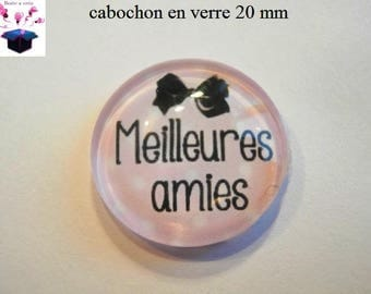 1 cabochon clear 20mm best friends theme