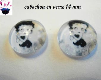 2 14 mm domed glass cabochon