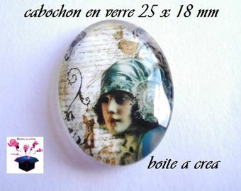 1 cabochon glass 25mm x 18mm number 9