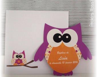 10 invitations - shape Orchid OWL birth announcement