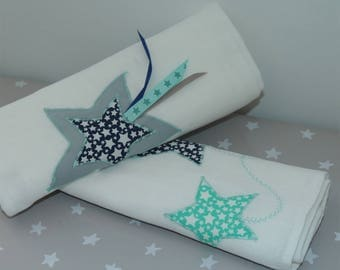 Duo of 60 x 60 diapers star in Navy, gray, Aqua Green
