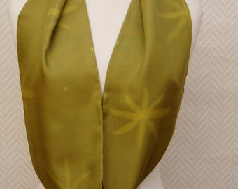 Hand painted scarf in lime green silk pongee