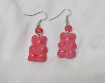 Earrings Gourmet candy red Teddy bear