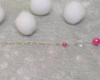 Back jewelry, groom wedding jewelry Pearl Pink fuchsia and Crystal cube