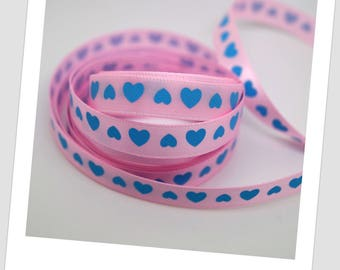 1 meter of Ribbon - blue hearts - 9mm polyester pink