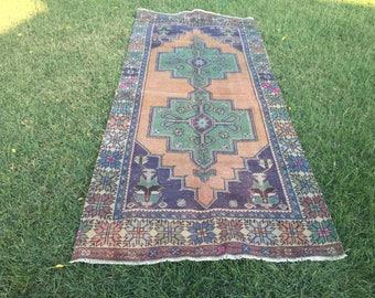 Floor rug,vintage rug,vintage Oushak rug,hallway rug,flower Design rug,Turkish rug,Rugs,carpet,Anatolian rug,Home interior rug109x245/3'5x8