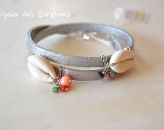 Shell and silver leather bracelet