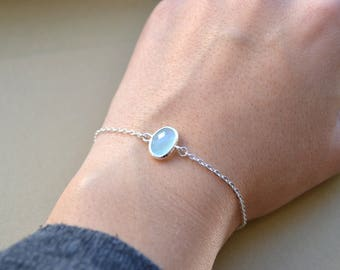 925 sterling silver and Blue Crystal bracelet