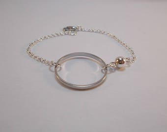 minimalist ring and pearl bracelet in silver
