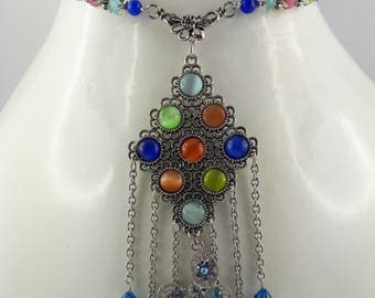 """Rainbow"" necklace in shimmering colors to give good mood!"