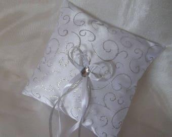 Silver veil and wedding ring pillow white satin pillow