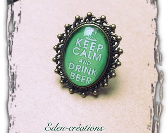 Ring cabochon glass dome, retro, keep calm and drink beer, humor