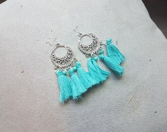 with turquoise tassel Bohemian earring