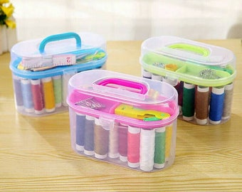 Travel Mini Sewing Kit With Sewing Needles, Threads DIY Home Tool Sewing Accessories Set in Plastic Case