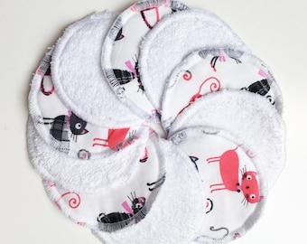Set of 10 wipes cats 7cm round