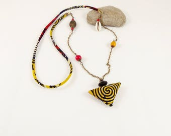 Ethnic necklace in African fabric, beads, cowrie and Medallion