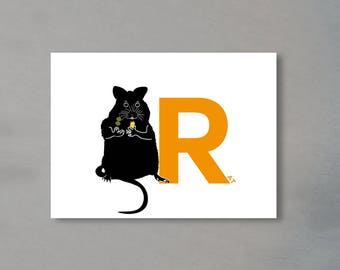 Letter card - 'R' as in Rat