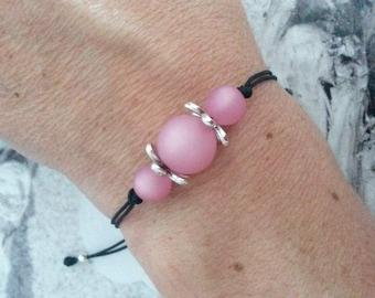Pink Polaris beads trio bracelet