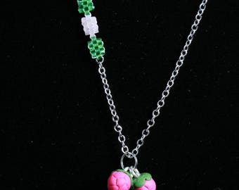 Trio of raspberries Fimo clay necklace