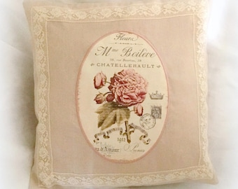 Linen cushion medallion of roses and old lace embroidered nude pink