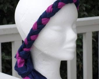 fashionable headband headband jersey linen braid ' eva red and blue