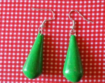 Earring drop green glitter