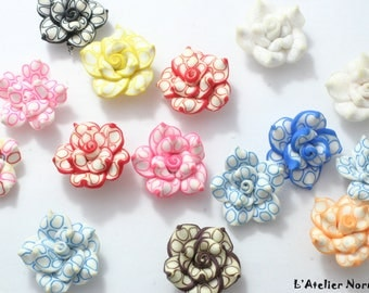 Set of 15 flowers multicolor ø25mm polymer clay