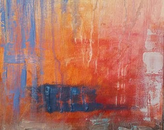 """Beach Day ~ Abstract Painting Acrylic on 12""""x16"""" Canvas"""