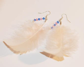 Earrings Natural white feathers