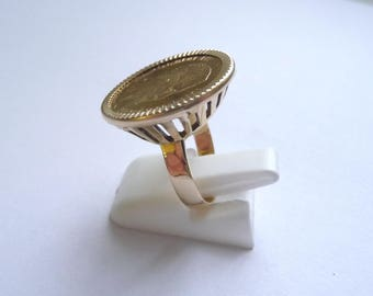 Ring piece gold 10 Francs Napoleon on wire basket