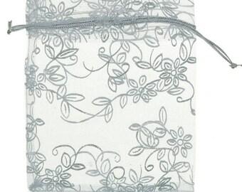 Emballage sachet pochette organza argenté fleurs 10X12 cm
