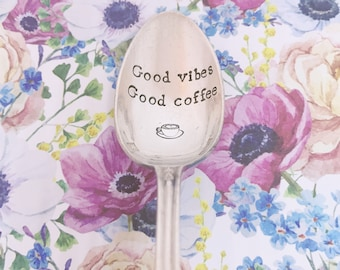 """Silver spoon """"good vibes good coffee""""-engraved spoon"""
