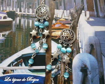 On the shipping - long earrings boho chic silver and turquoise beads