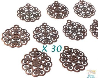 30 rosettes color cuivre15x17mm (bre410) nickel free Brass filigree charms