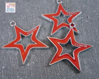 1 charm red enamel star, 25mm (BRE191)