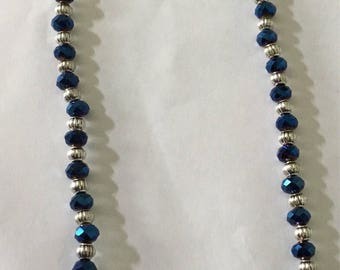 Dark crystal  blue bead necklace  with earrings