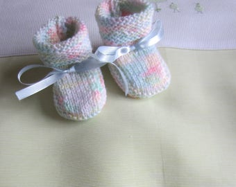 Multicoloured - hand made knit newborn baby booties