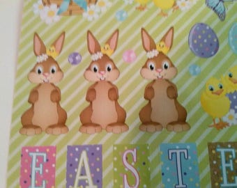 47 stickers with bunnies, chicks, sheep and Fox Easter