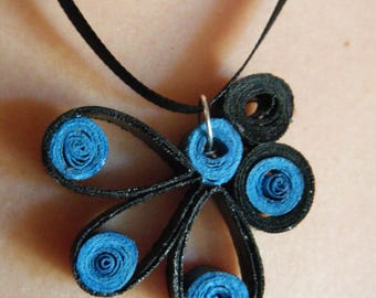 teal and black color quilling pendant with black satin ribbon