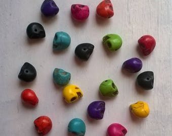 15 multicolors resin skull beads